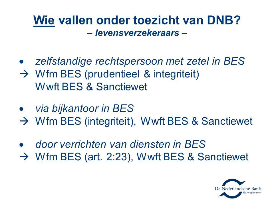 Wie vallen onder toezicht van DNB – levensverzekeraars –