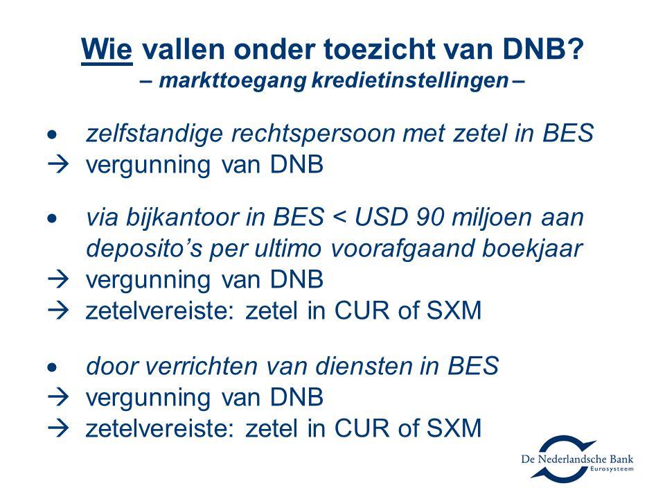 Wie vallen onder toezicht van DNB – markttoegang kredietinstellingen –