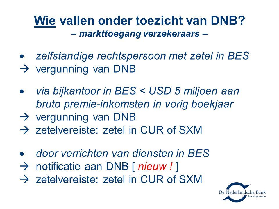 Wie vallen onder toezicht van DNB – markttoegang verzekeraars –