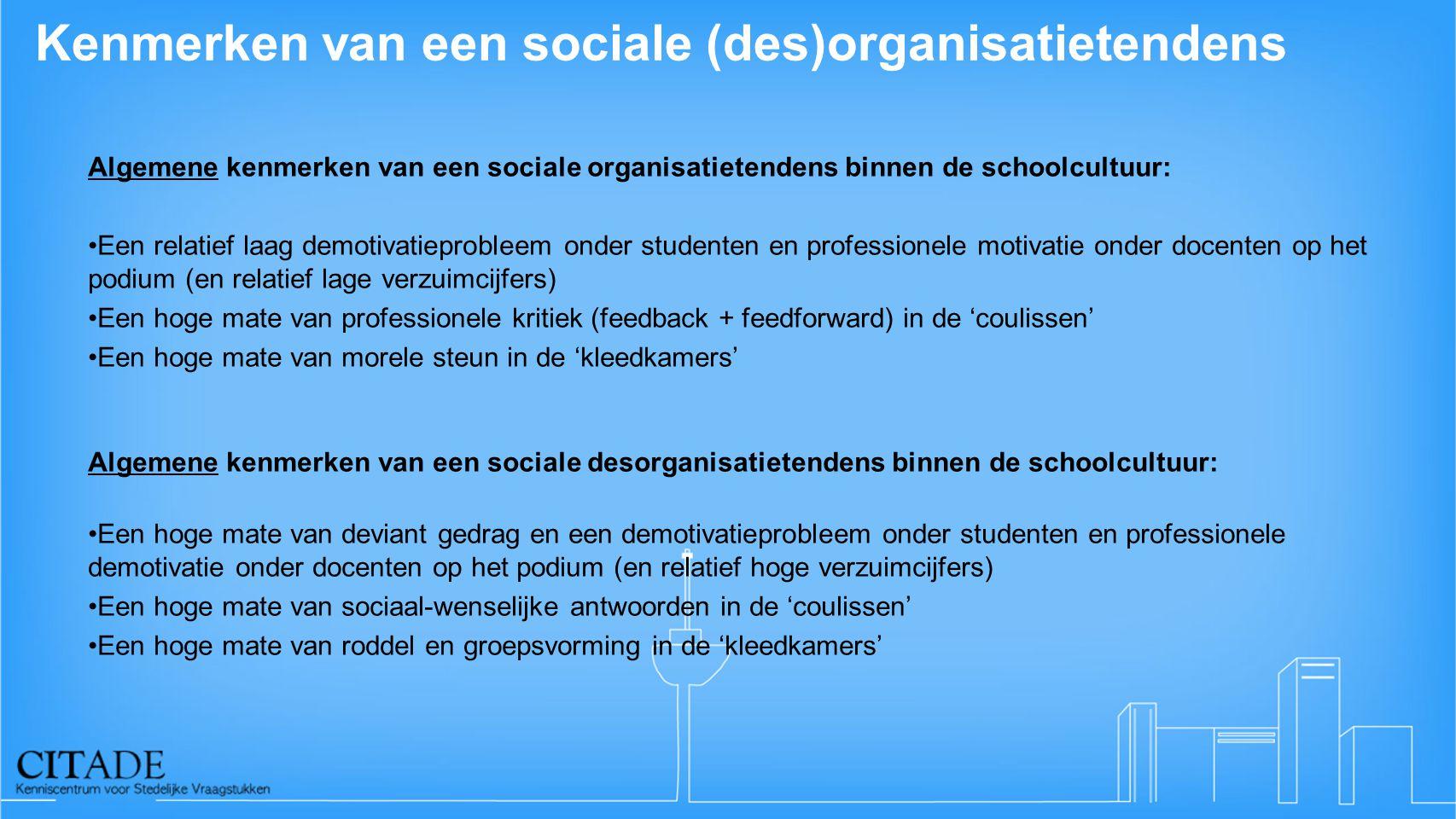 Kenmerken van een sociale (des)organisatietendens