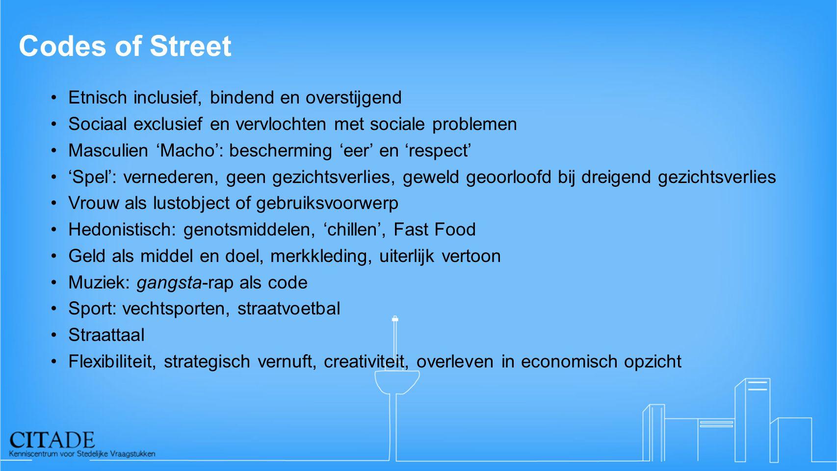 Codes of Street Etnisch inclusief, bindend en overstijgend