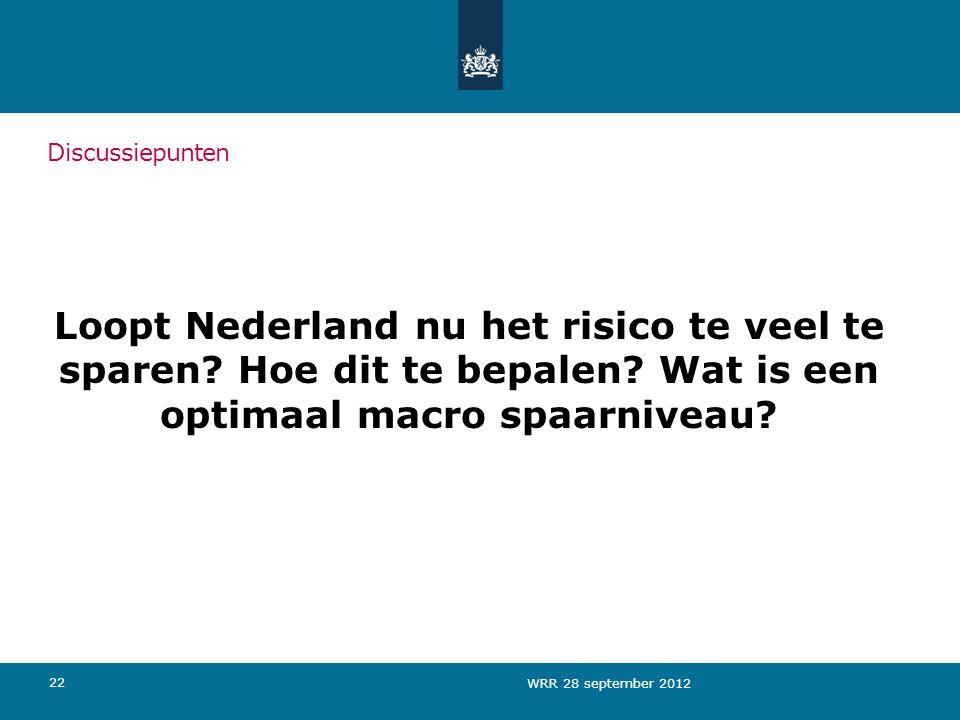Discussiepunten Loopt Nederland nu het risico te veel te sparen Hoe dit te bepalen Wat is een optimaal macro spaarniveau