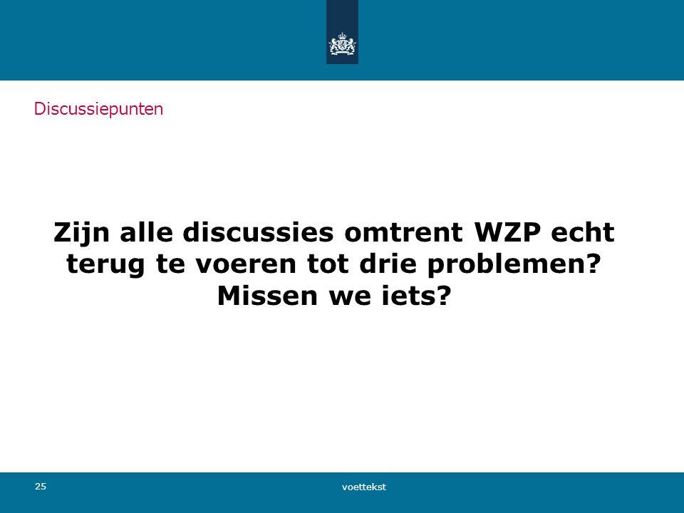 Discussiepunten Zijn alle discussies omtrent WZP echt terug te voeren tot drie problemen Missen we iets