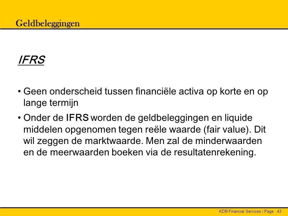Geldbeleggingen IFRS. Geen onderscheid tussen financiële activa op korte en op lange termijn.