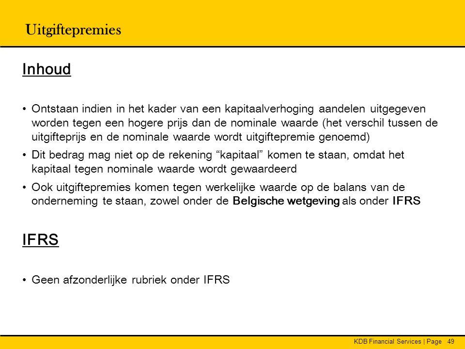 Uitgiftepremies Inhoud IFRS