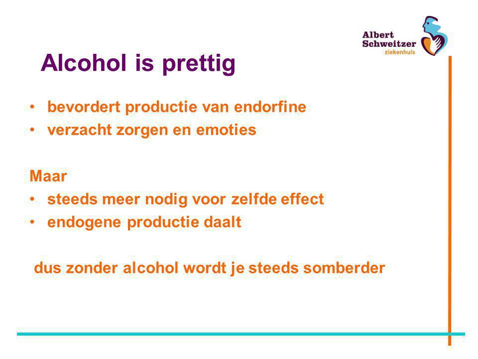 Alcohol is prettig bevordert productie van endorfine