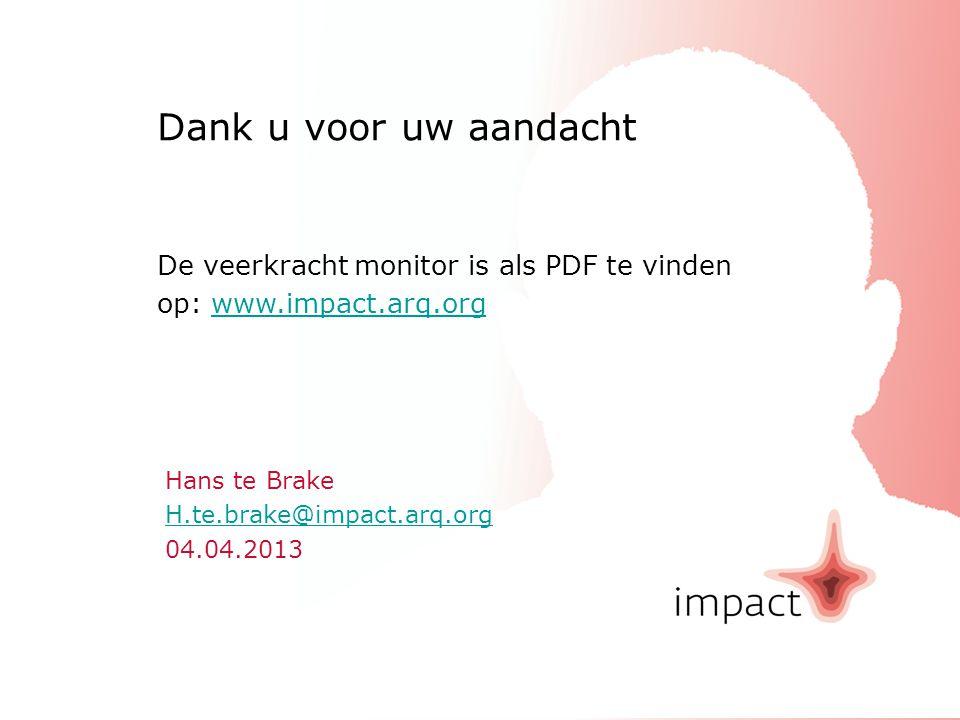 Dank u voor uw aandacht De veerkracht monitor is als PDF te vinden op: www.impact.arq.org
