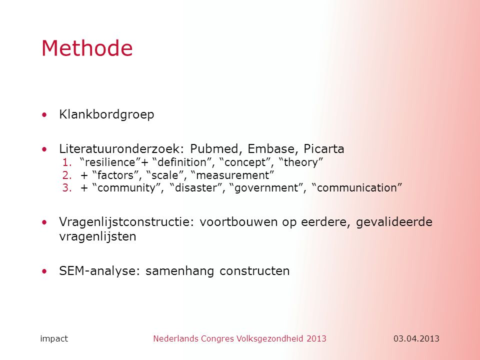 Methode Klankbordgroep Literatuuronderzoek: Pubmed, Embase, Picarta