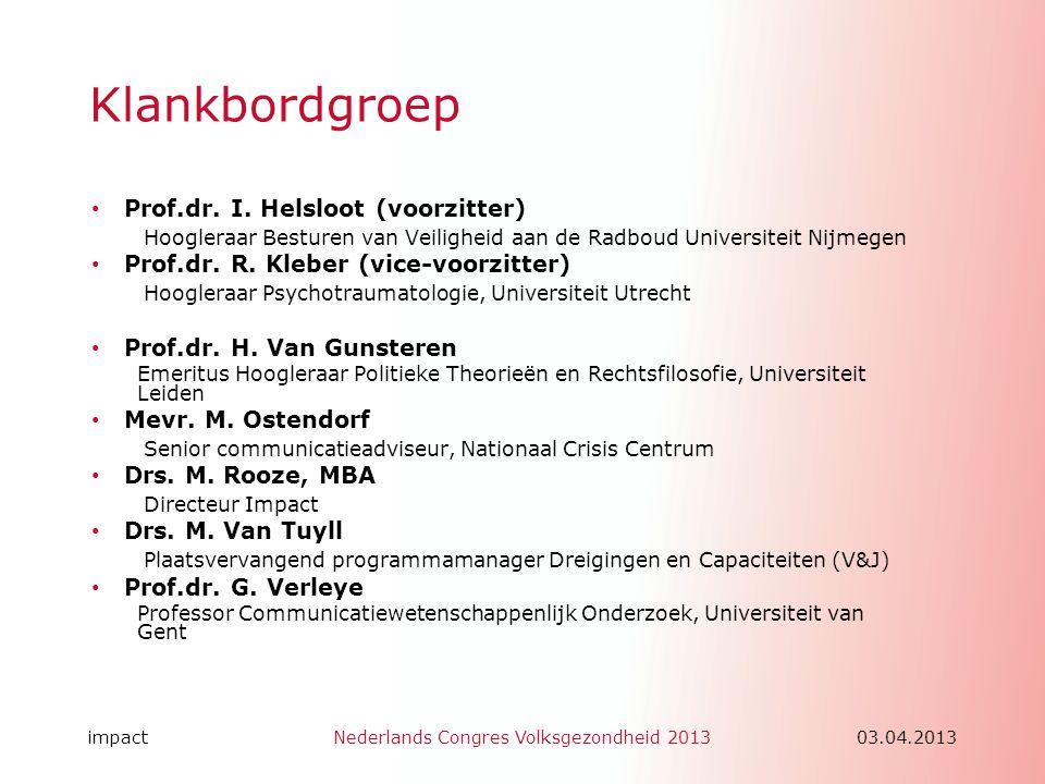 Klankbordgroep Prof.dr. I. Helsloot (voorzitter)