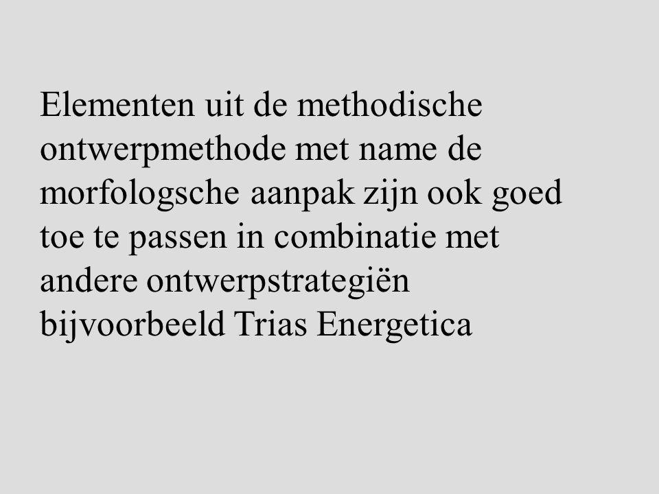 Elementen uit de methodische ontwerpmethode met name de morfologsche aanpak zijn ook goed toe te passen in combinatie met andere ontwerpstrategiën bijvoorbeeld Trias Energetica