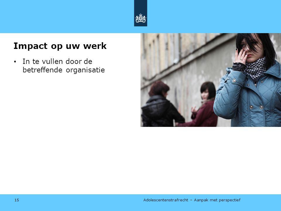 Impact op uw werk In te vullen door de betreffende organisatie