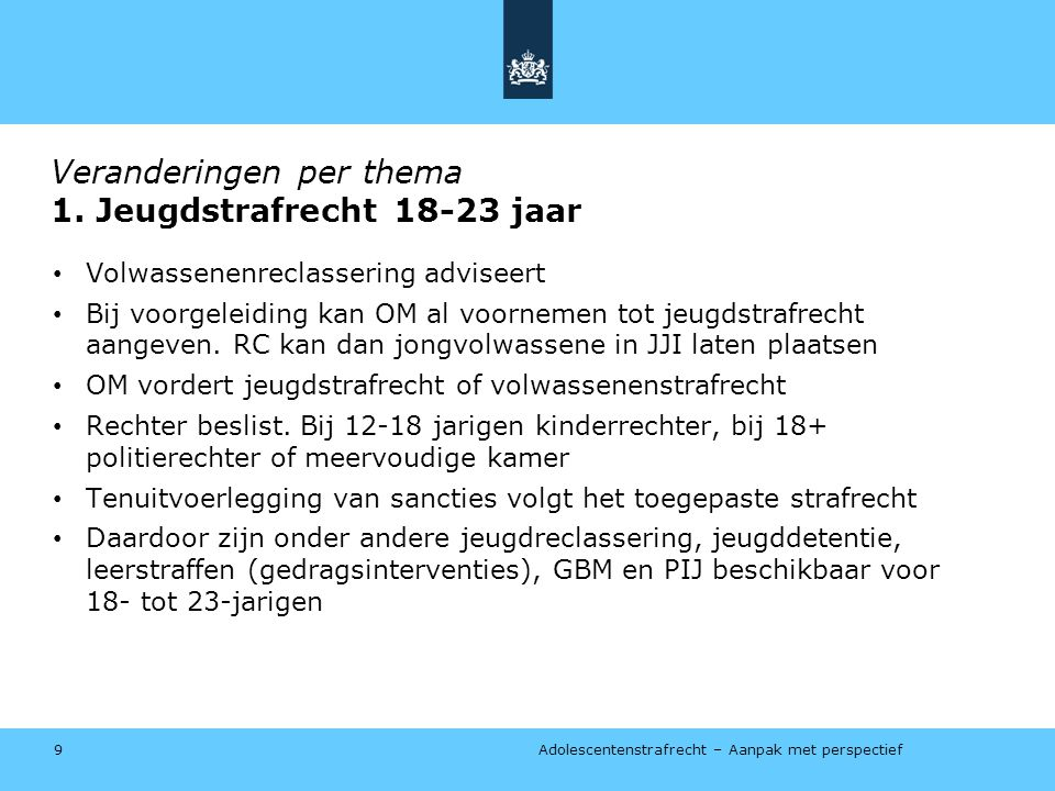 Veranderingen per thema 1. Jeugdstrafrecht 18-23 jaar