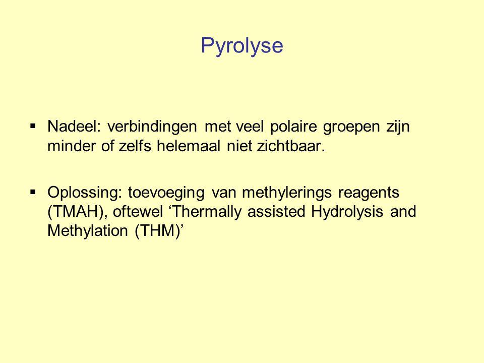 Pyrolyse Nadeel: verbindingen met veel polaire groepen zijn minder of zelfs helemaal niet zichtbaar.