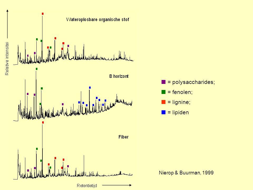  = polysaccharides;  = fenolen;  = lignine;  = lipiden