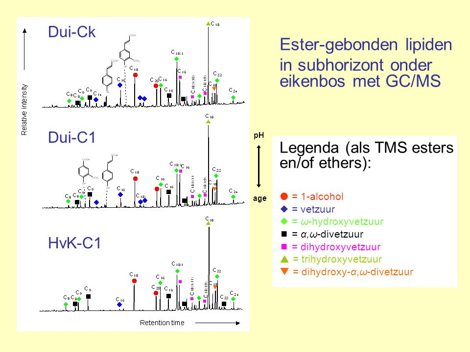 in subhorizont onder eikenbos met GC/MS