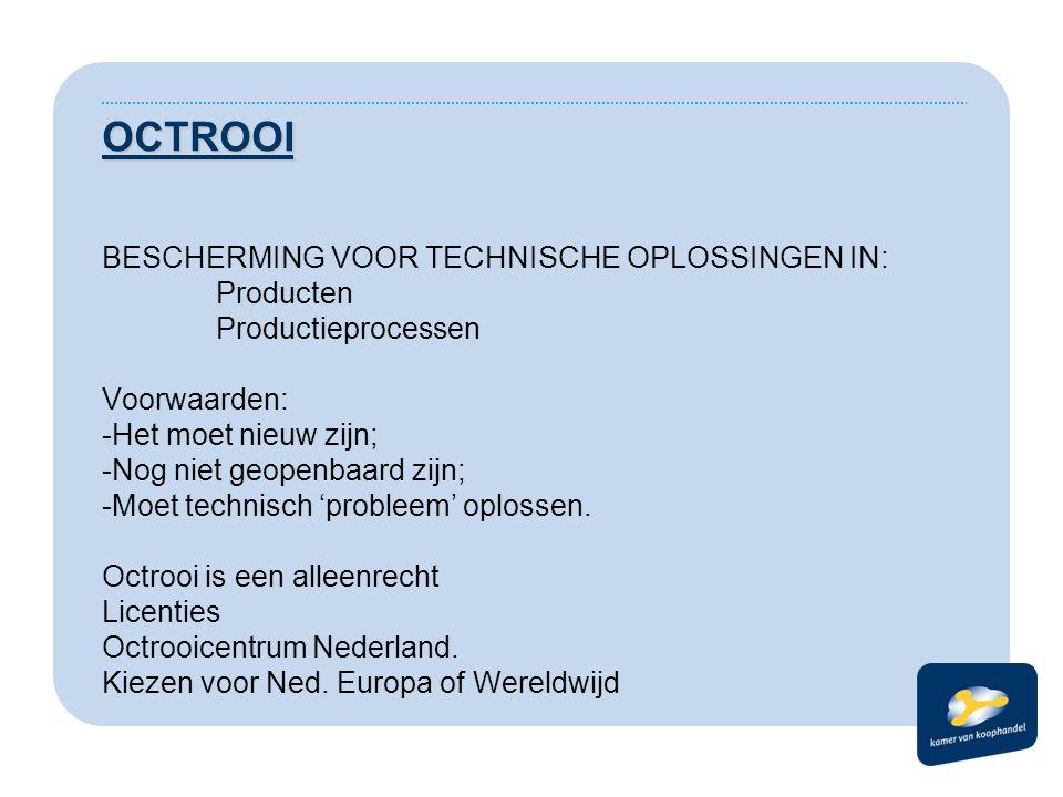 OCTROOI BESCHERMING VOOR TECHNISCHE OPLOSSINGEN IN: Producten