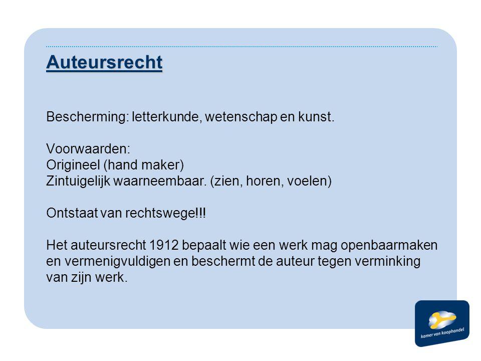 Auteursrecht Bescherming: letterkunde, wetenschap en kunst.