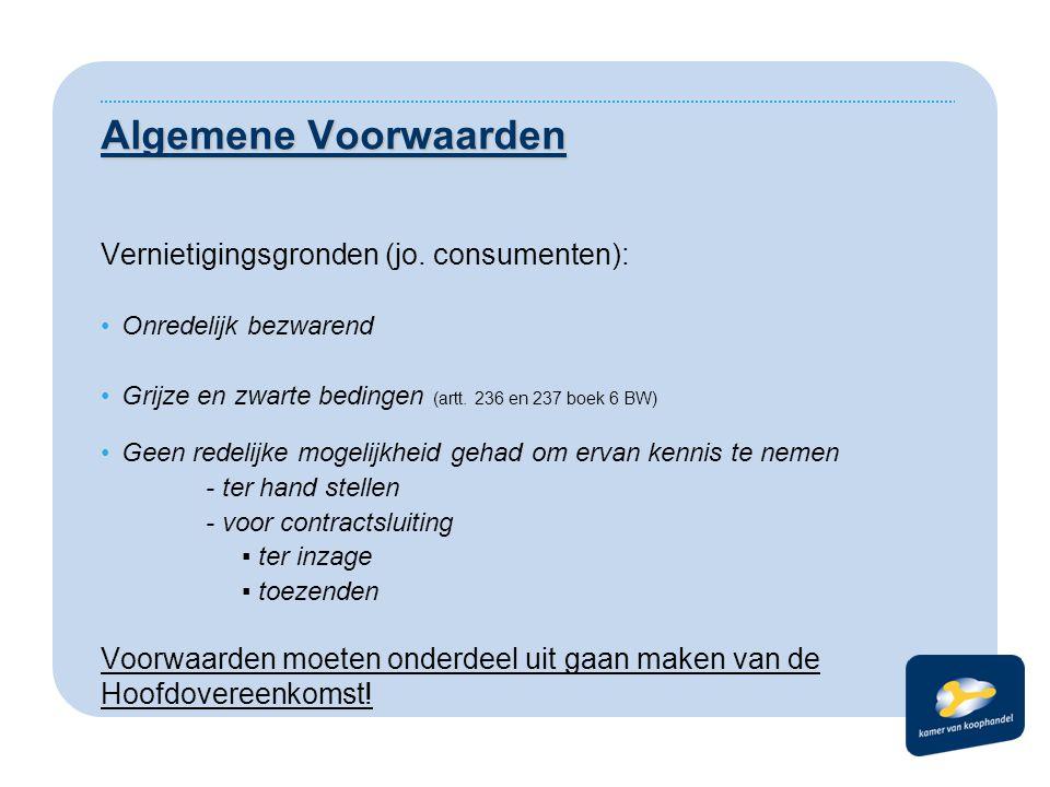 Algemene Voorwaarden Vernietigingsgronden (jo. consumenten):