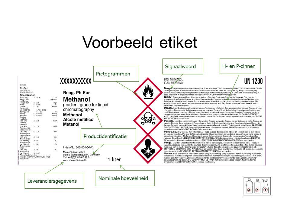 Voorbeeld etiket Nominale hoeveelheid alleen verplicht bij consumentenverpakkingen. Afmetingen etiket in bijlage 1, sectie 1.2.1.3.