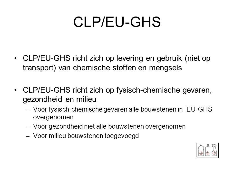 CLP/EU-GHS CLP/EU-GHS richt zich op levering en gebruik (niet op transport) van chemische stoffen en mengsels.