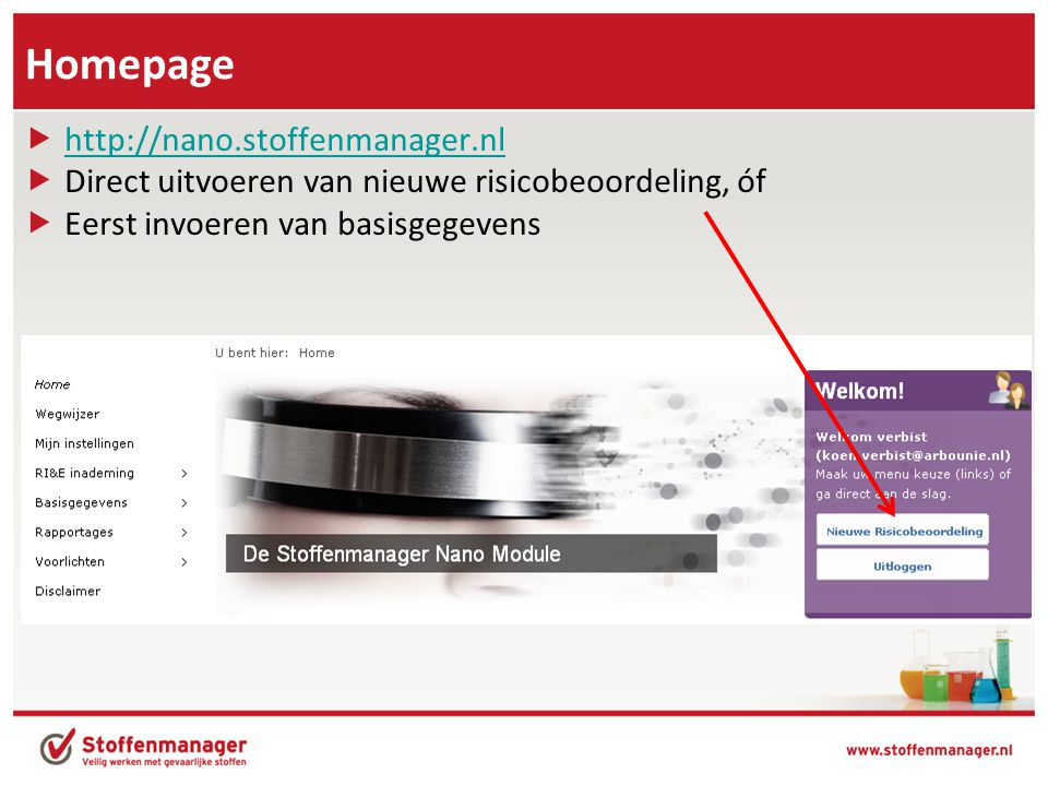 Homepage http://nano.stoffenmanager.nl