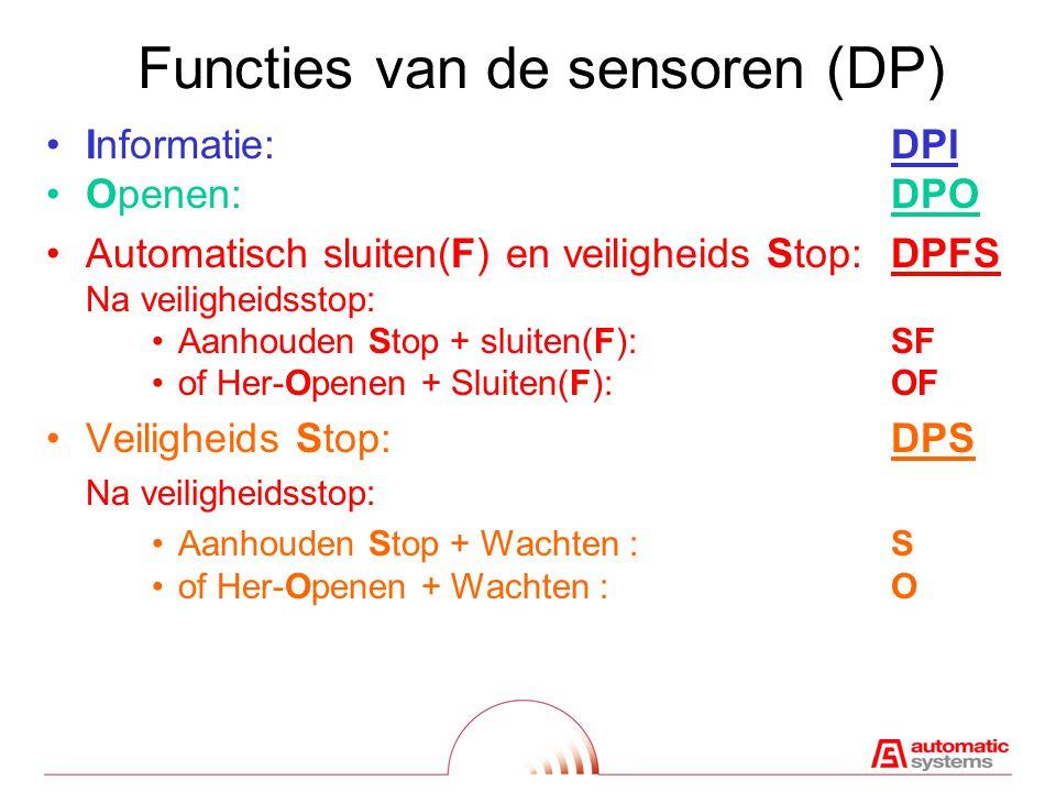 Functies van de sensoren (DP)