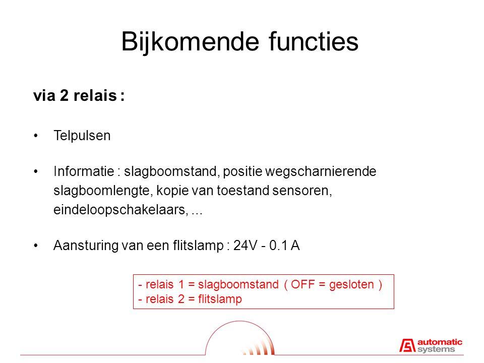 Bijkomende functies via 2 relais : Telpulsen