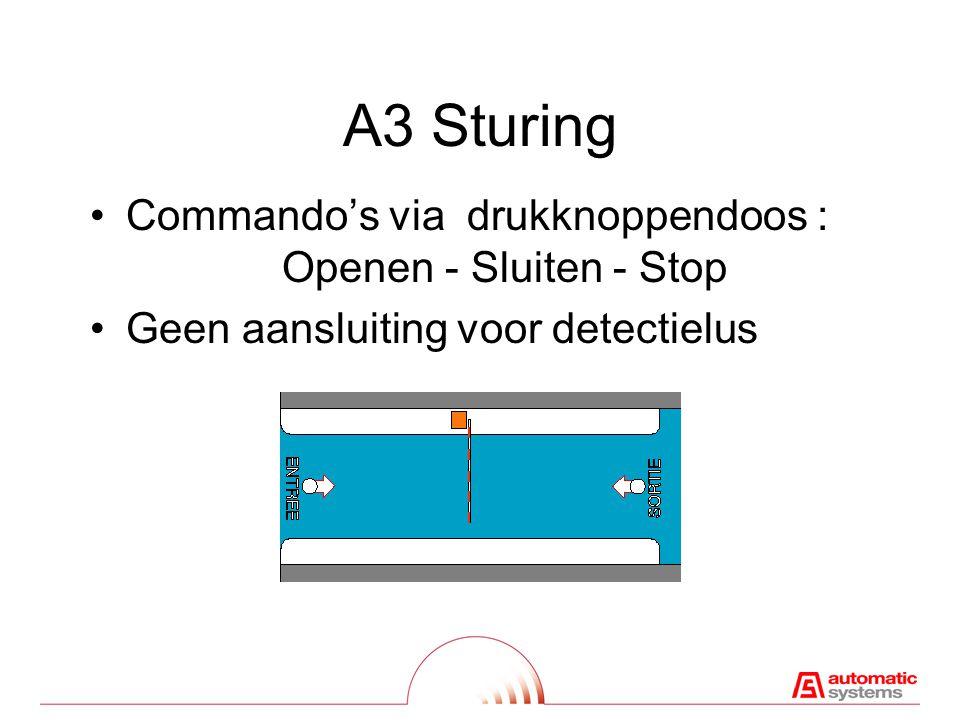 A3 Sturing Commando's via drukknoppendoos : Openen - Sluiten - Stop