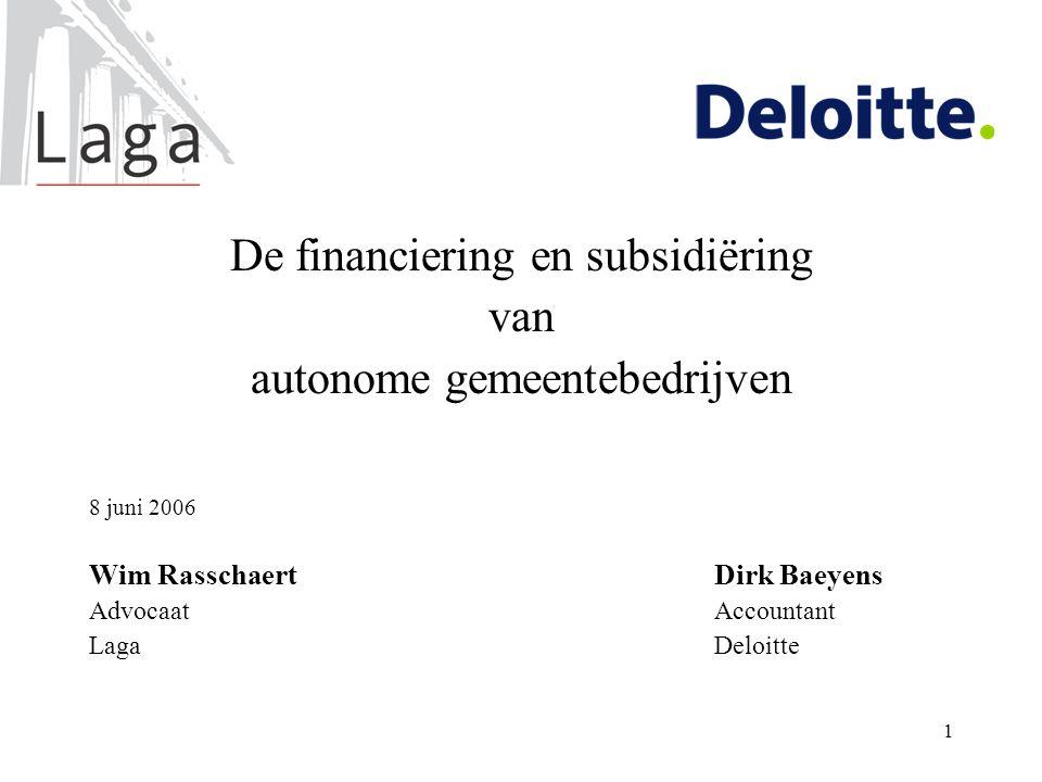 De financiering en subsidiëring van autonome gemeentebedrijven