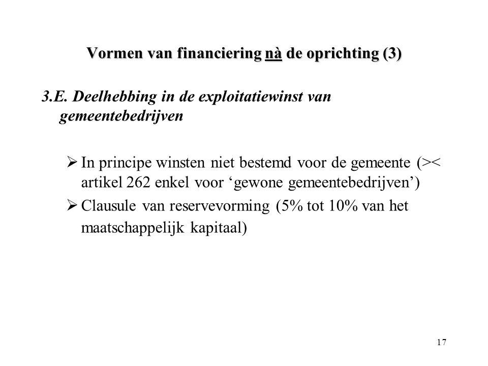 Vormen van financiering nà de oprichting (3)