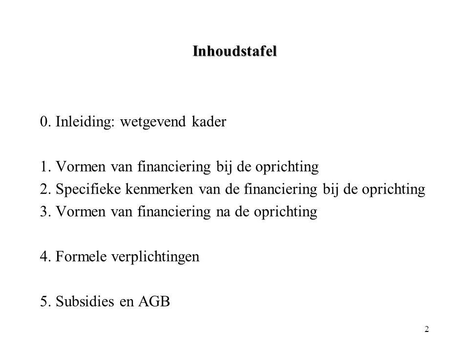 Inhoudstafel 0. Inleiding: wetgevend kader. 1. Vormen van financiering bij de oprichting.