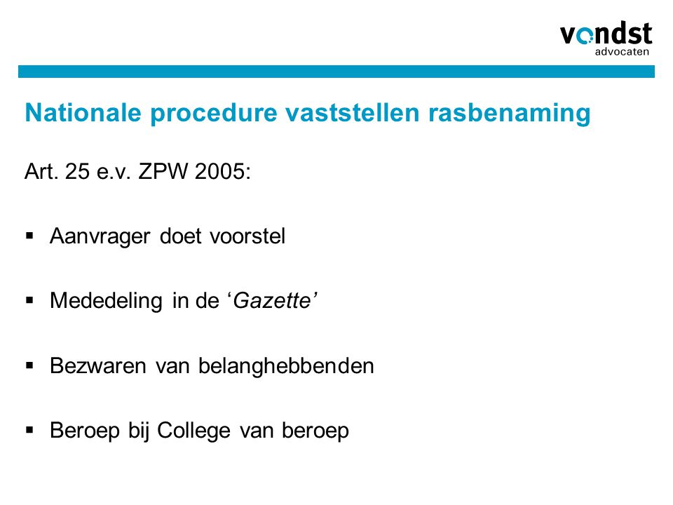Nationale procedure vaststellen rasbenaming