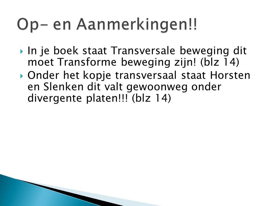 Op- en Aanmerkingen!! In je boek staat Transversale beweging dit moet Transforme beweging zijn! (blz 14)