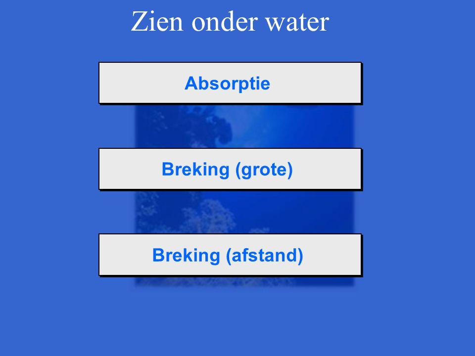 Zien onder water Absorptie Breking (grote) Breking (afstand)