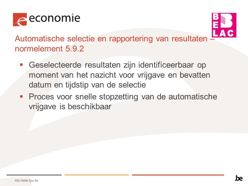 Automatische selectie en rapportering van resultaten – normelement 5.9.2