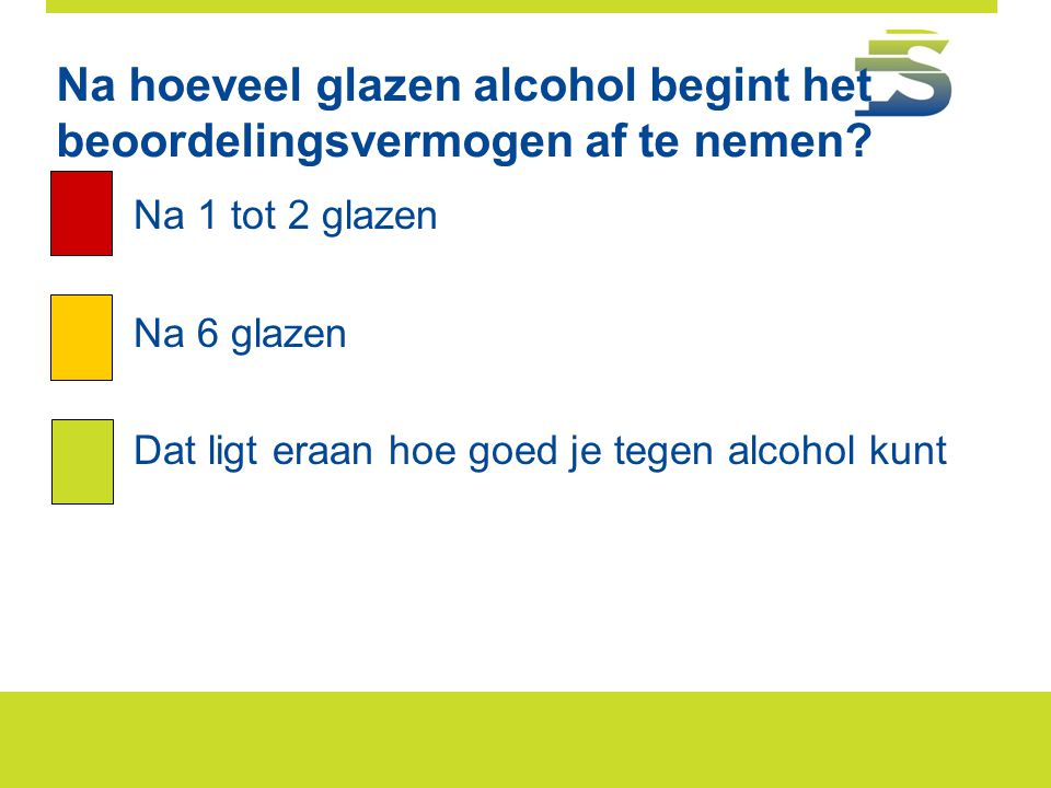 Na hoeveel glazen alcohol begint het beoordelingsvermogen af te nemen