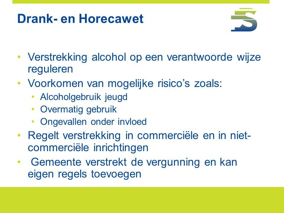 Drank- en Horecawet Verstrekking alcohol op een verantwoorde wijze reguleren. Voorkomen van mogelijke risico's zoals: