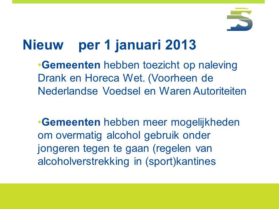 Nieuw per 1 januari 2013 Gemeenten hebben toezicht op naleving Drank en Horeca Wet. (Voorheen de Nederlandse Voedsel en Waren Autoriteiten.