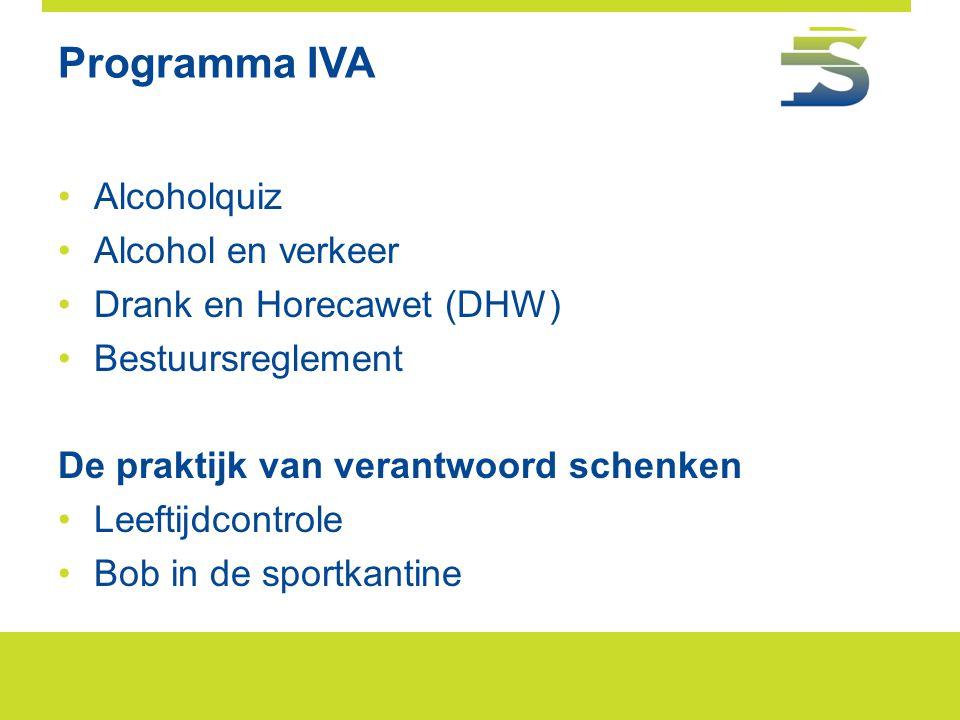 Programma IVA Alcoholquiz Alcohol en verkeer Drank en Horecawet (DHW)