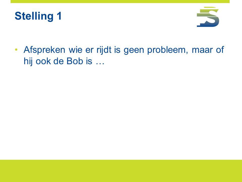 Stelling 1 Afspreken wie er rijdt is geen probleem, maar of hij ook de Bob is …