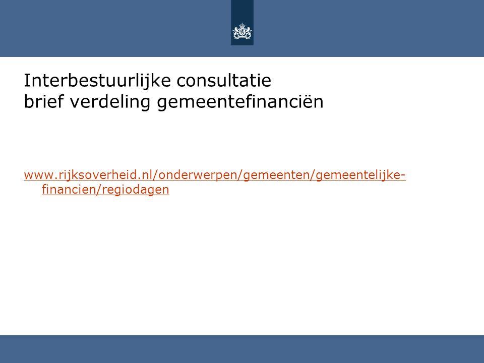 Interbestuurlijke consultatie brief verdeling gemeentefinanciën