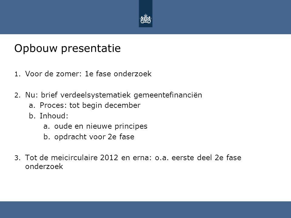 Opbouw presentatie Voor de zomer: 1e fase onderzoek