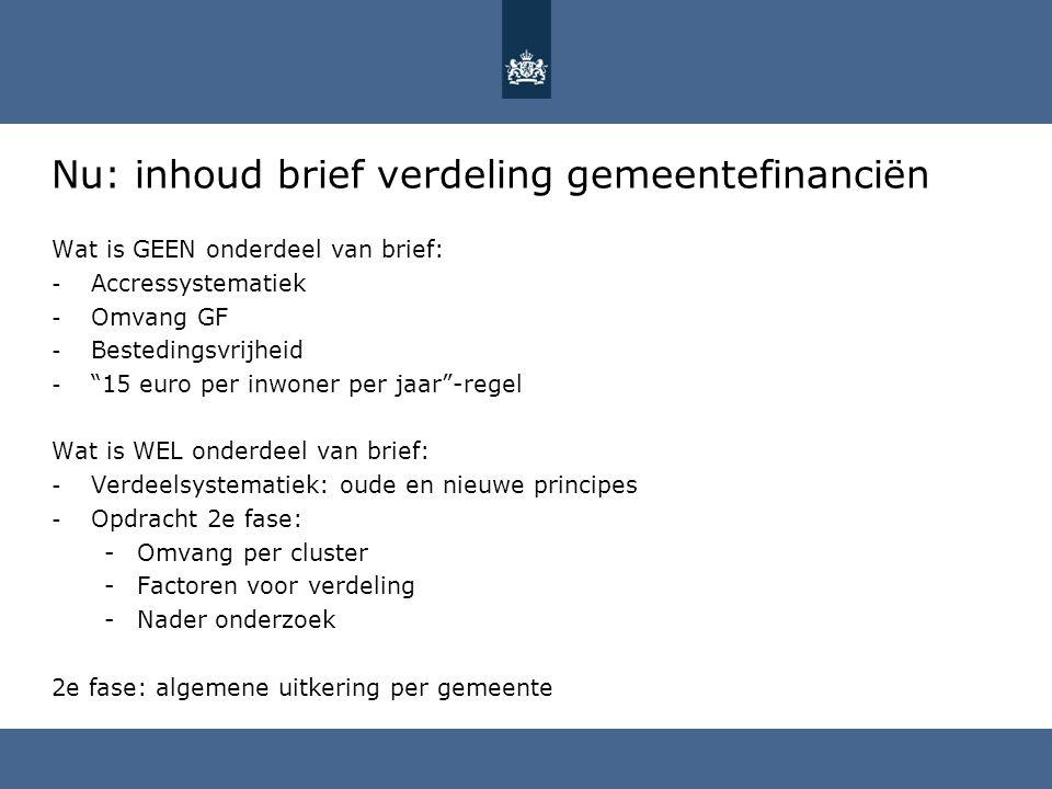 Nu: inhoud brief verdeling gemeentefinanciën
