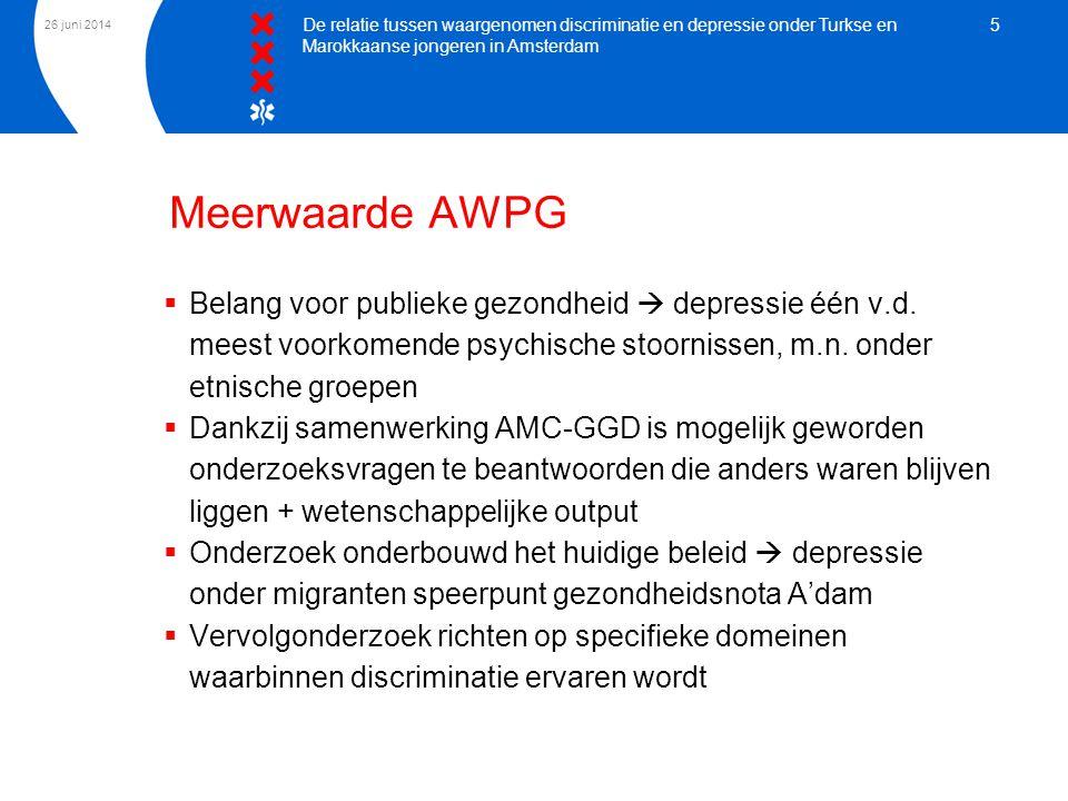 3 april 2017 De relatie tussen waargenomen discriminatie en depressie onder Turkse en Marokkaanse jongeren in Amsterdam.