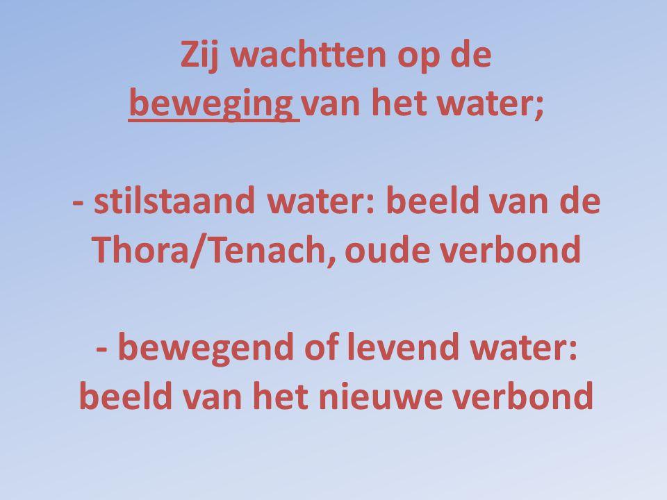 Zij wachtten op de beweging van het water; - stilstaand water: beeld van de Thora/Tenach, oude verbond - bewegend of levend water: beeld van het nieuwe verbond