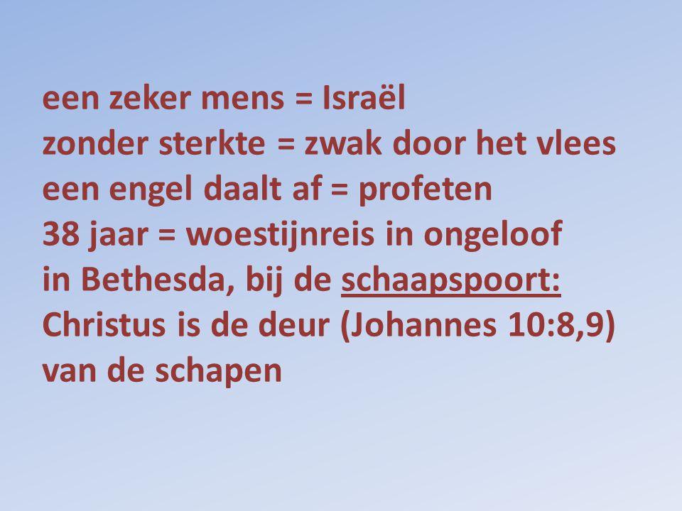 een zeker mens = Israël zonder sterkte = zwak door het vlees een engel daalt af = profeten 38 jaar = woestijnreis in ongeloof in Bethesda, bij de schaapspoort: Christus is de deur (Johannes 10:8,9) van de schapen