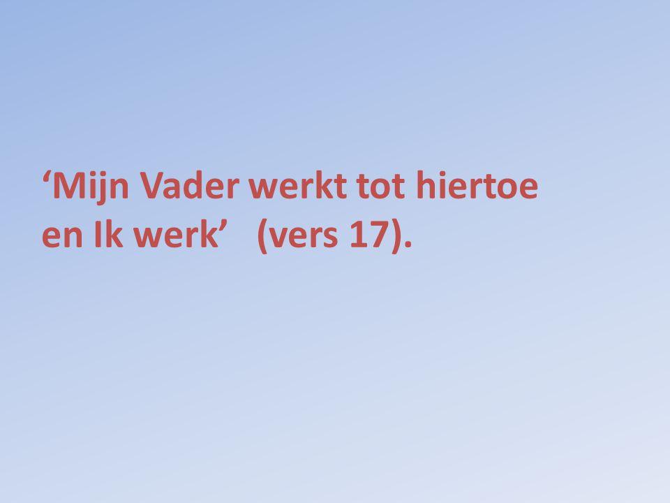 'Mijn Vader werkt tot hiertoe en Ik werk' (vers 17).