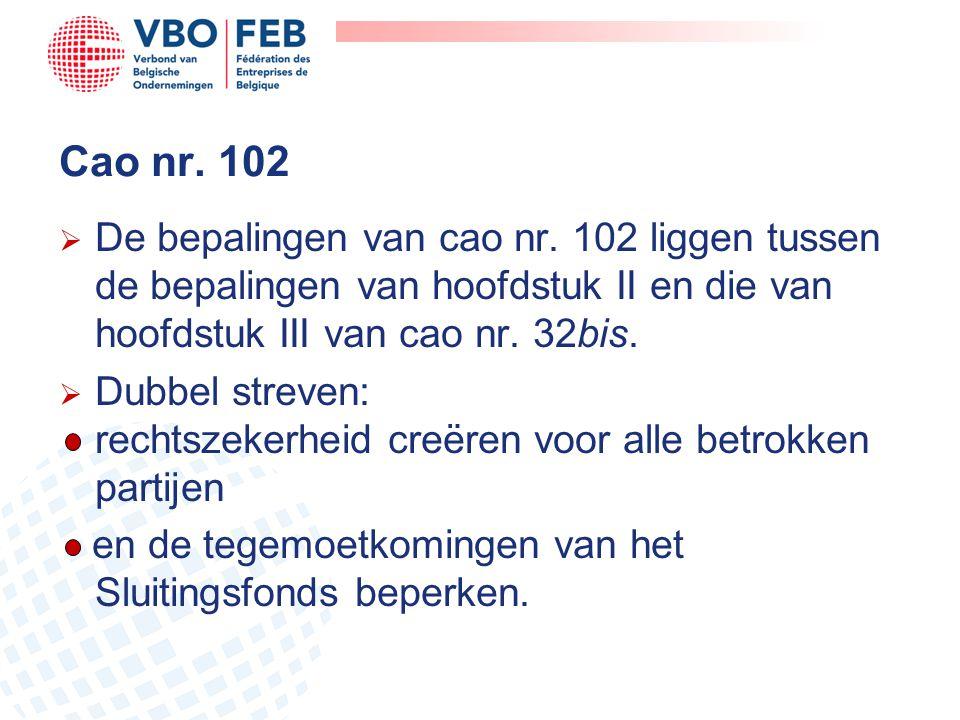 Cao nr. 102 De bepalingen van cao nr. 102 liggen tussen de bepalingen van hoofdstuk II en die van hoofdstuk III van cao nr. 32bis.