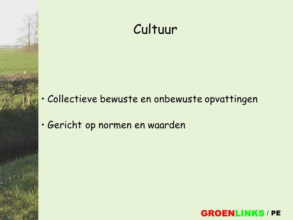 Cultuur Collectieve bewuste en onbewuste opvattingen