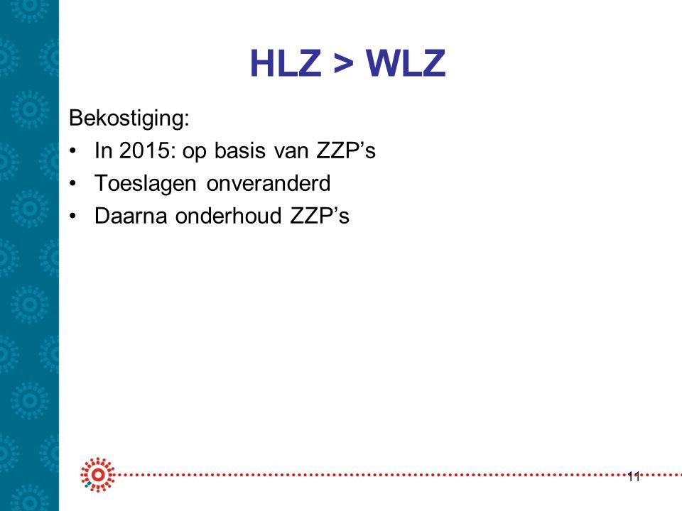 HLZ > WLZ Bekostiging: In 2015: op basis van ZZP's